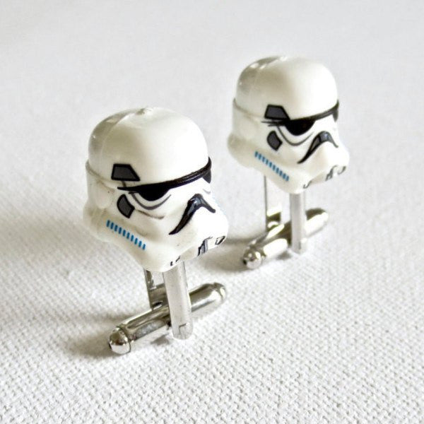 LEGO Stormtrooper Helmet Cufflinks Cuff Links Starwars Star Wars Wedding Groom Groomsmen Gift - MarkandMetal.com