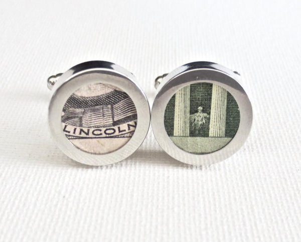 Abraham Lincoln Five Dollar Cufflinks - MarkandMetal.com