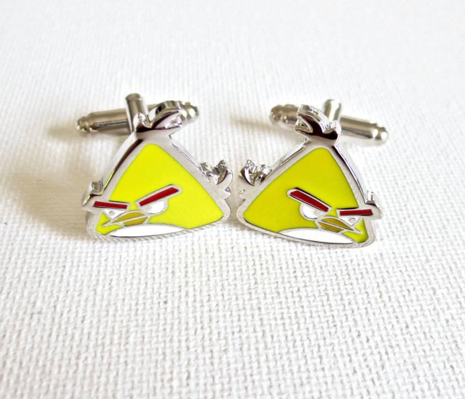 Angry Birds Cufflinks - Groomsmen Groom Wedding Gift For Him