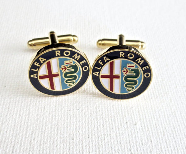 Alfa Romeo Cufflinks Car Logo - Groomsmen Groom Wedding Gift For Him