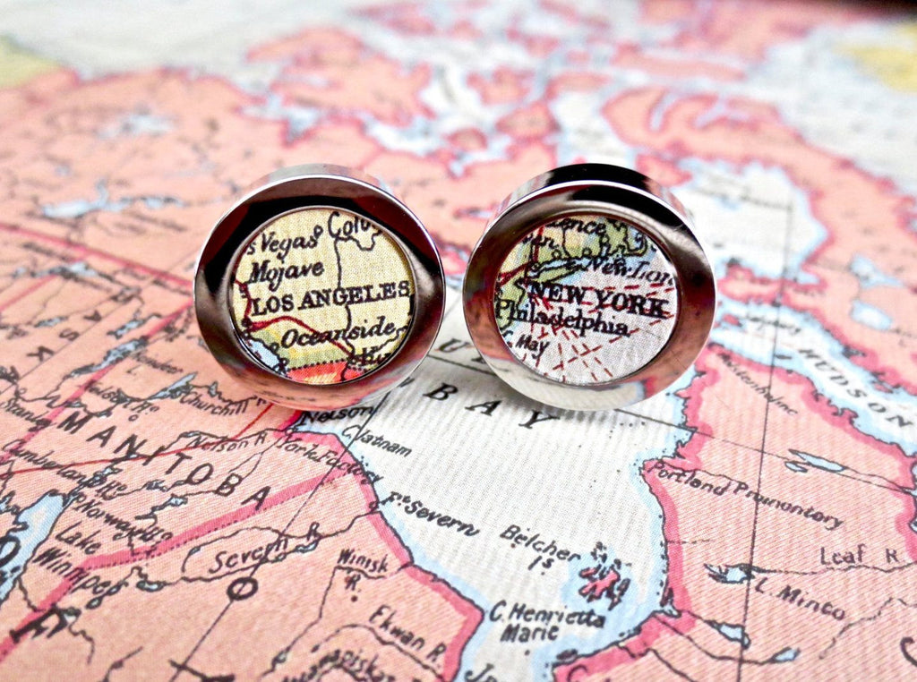 World Map Cufflinks Paper 1st Annniversary or Cotton 2nd Anniversary - MarkandMetal.com
