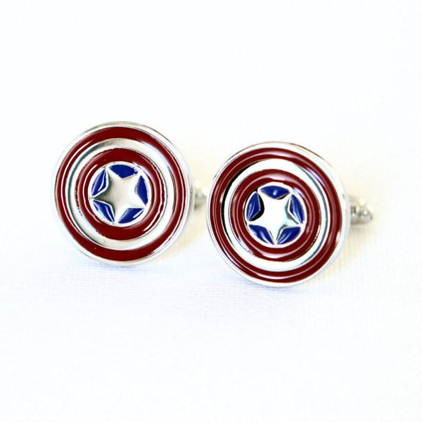 Captain America Cufflinks - Groomsmen Groom Wedding Gift For Him
