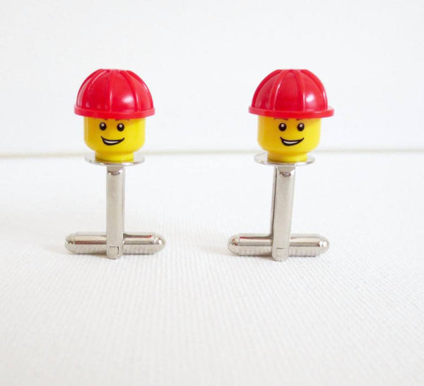 LEGO Construction Worker Cufflinks - MarkandMetal.com