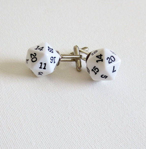 Dungeon and Dragons D20 Dice Cufflinks - Groomsmen Groom Wedding Gift For Him