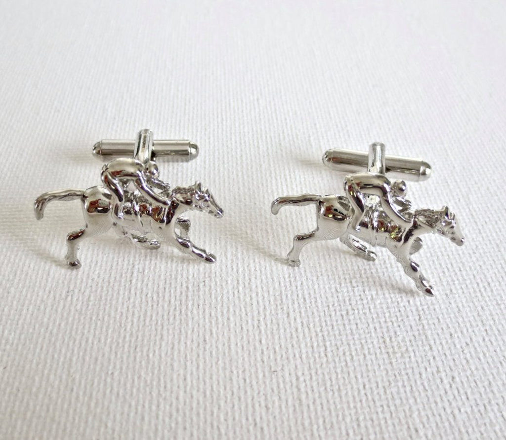 Horse Racing Cufflinks Cuff Links Sports Wedding Groom Groomsmen Gift - MarkandMetal.com