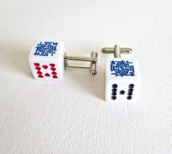 Card Dice Cufflinks Cuff Links Casino Las Vegas Wedding Groom Groomsmen Gift - MarkandMetal.com