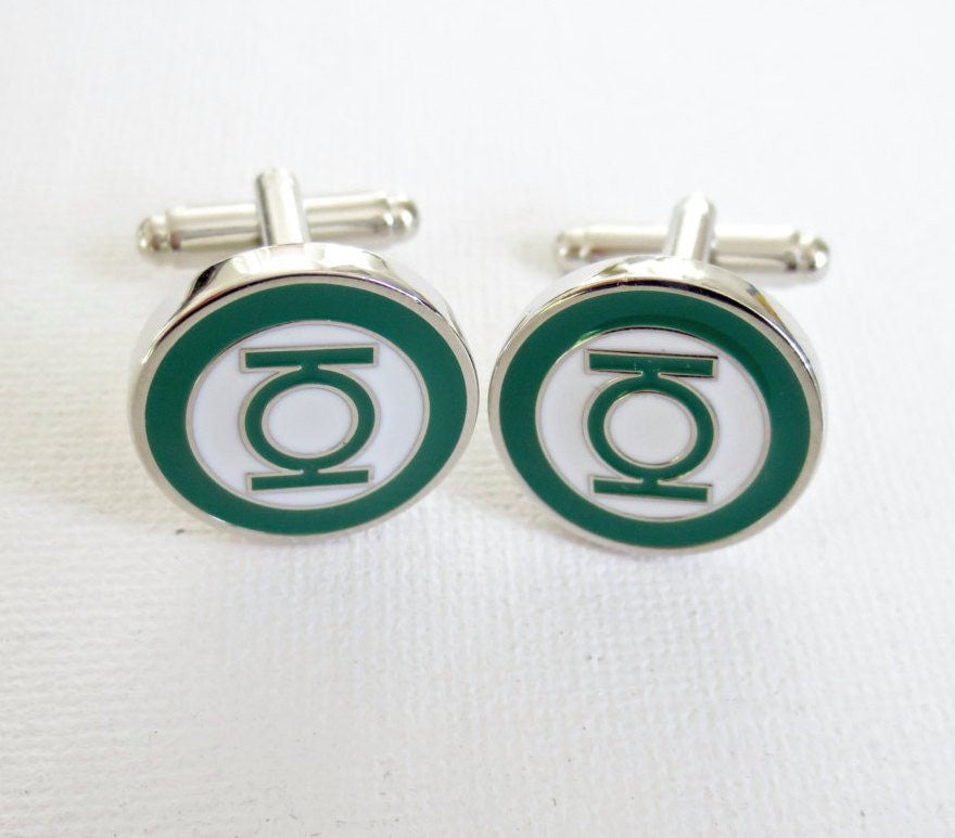 Green Lantern Cufflinks - Groomsmen Groom Wedding Gift For Him