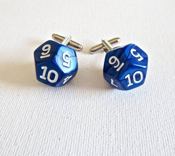 Dungeon and Dragons D10 Cufflinks - MarkandMetal.com
