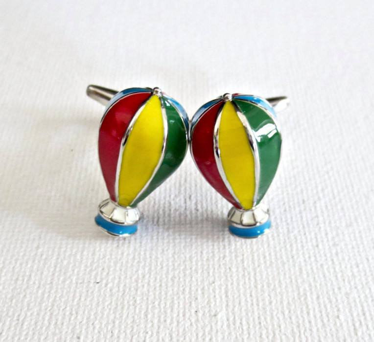 Hot Air Balloons Cufflinks - Groomsmen Groom Wedding Gift For Him