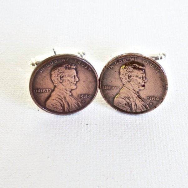 1980s Penny Coin Cufflinks - Groomsmen Groom Wedding Gift For Him