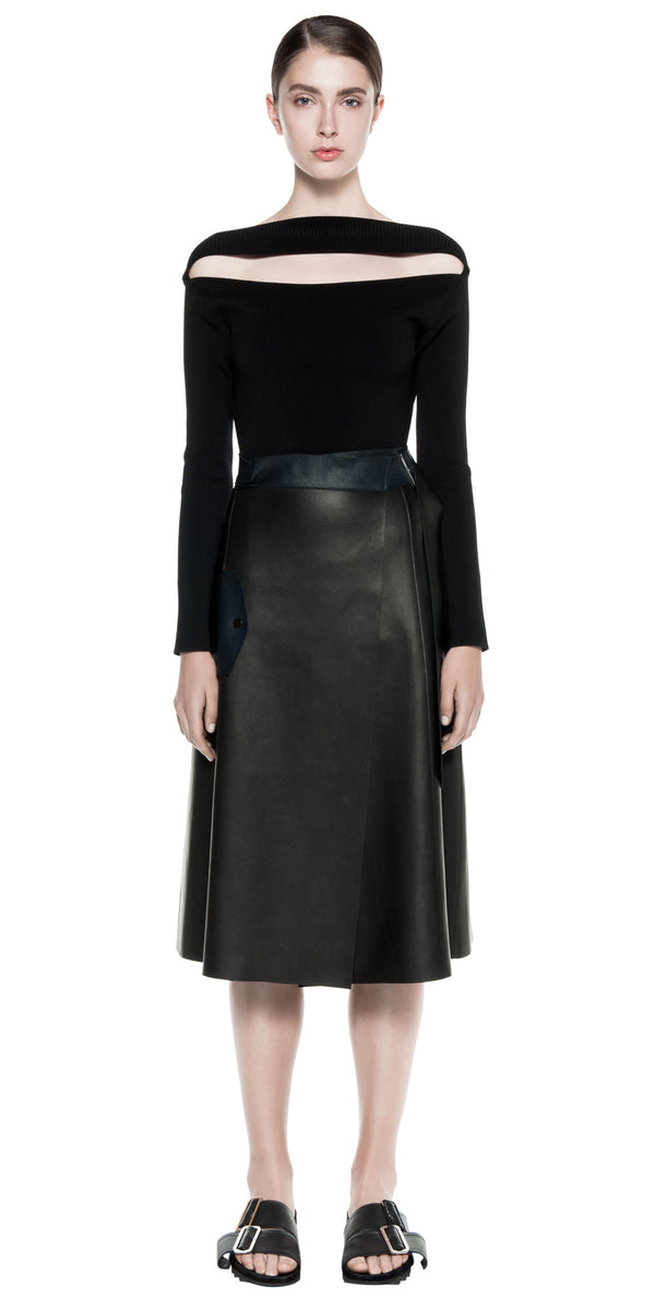 Double Glove Leather Trench Skirt