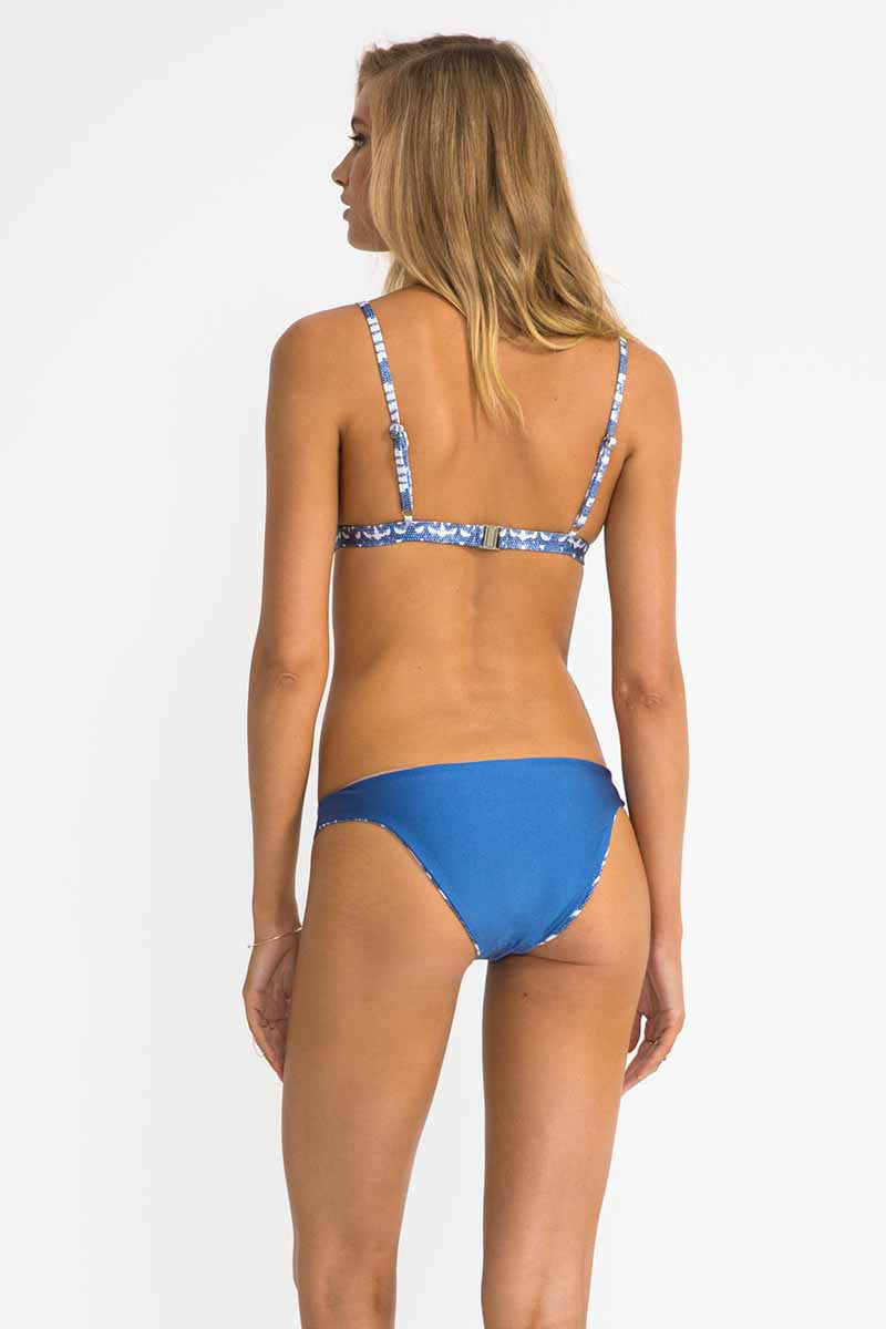 Ikat Lover Mesh Splice Triangle Bikini with Reversible Bottoms