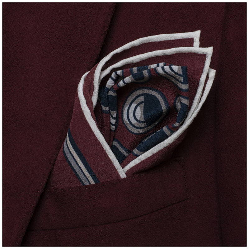 Nazar Burgundy Pocket Square