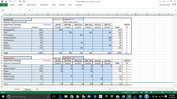 budget spreadsheet autopay expense page