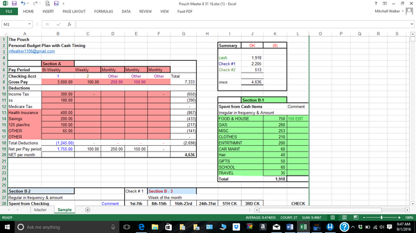 budget spreadsheet Income page