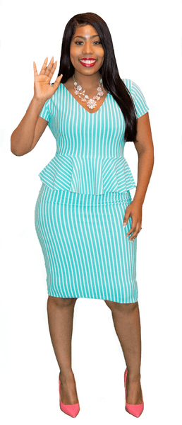 Cool Mint Stripe V Neck Peplum Midi
