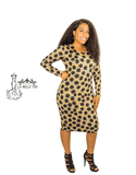 Nude and Black Animal Print Bodycon Dress