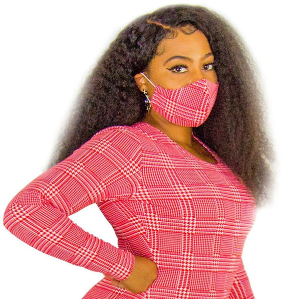Red Hounds Tooth Fashion Face Mask