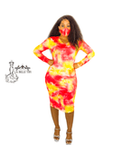 Red and Yellow Galaxy Tie Dye Bodycon Dress