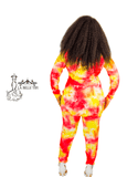 RED AND YELLOW GALAXY TIE DYE High Low Top and High Waist Pants Set