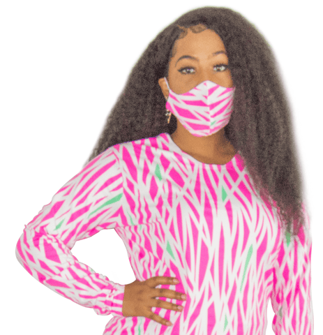 Pink White and Green Fashion Face Mask