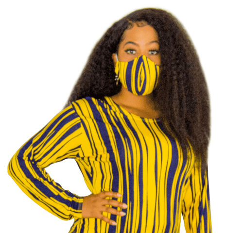 Royal Blue and Yellow Fashion Face Mask