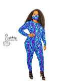 Purple and Blue Peacock High Low Top and High Waist Pants Set