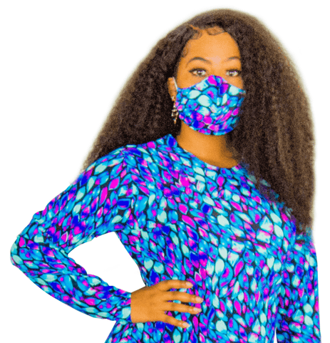 Purple and Blue Peacock Fashion Face Mask