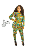 Abstract Green High Low Top and High Waist Pants Set