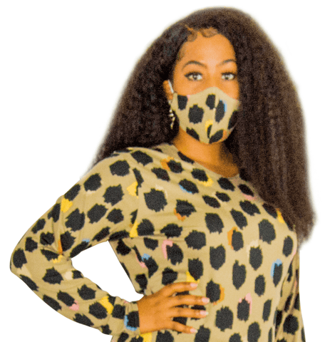 Nude and Black Animal Print Fashion Face Mask