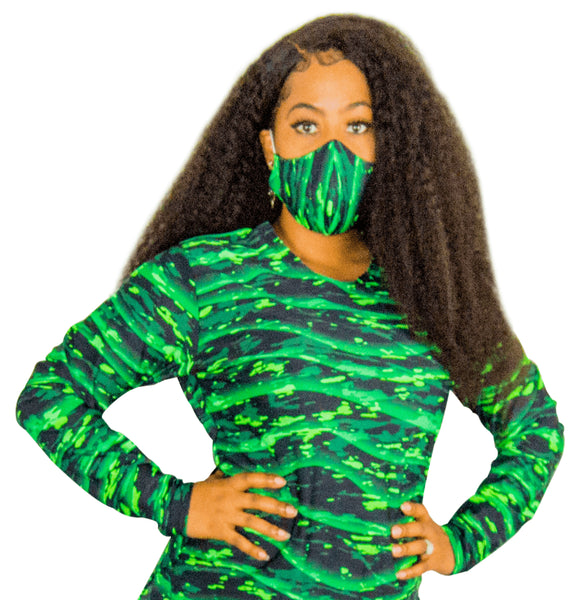 Green and Black PRINT Fashion Face Mask