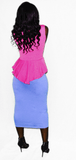 Pink and Blue Peplum Midi Dress