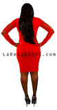 Red Slashed Knee Length Dress