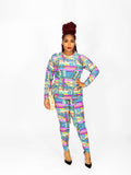 Pink Multi Color High Low Top and High Waist Pants Set
