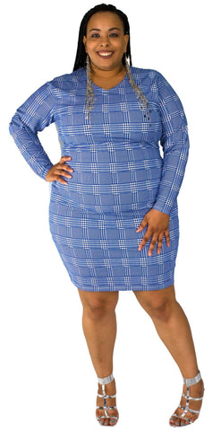 Blue Hounds Tooth Bodycon Dress