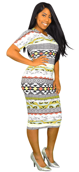 Tribal Printed T Shirt Sleeve Midi Dress