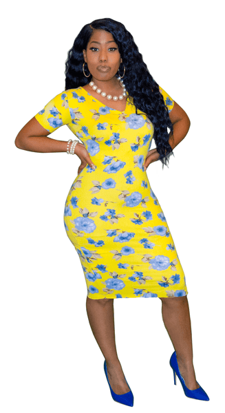 Classic V Neck Yellow Floral Peplum Dress