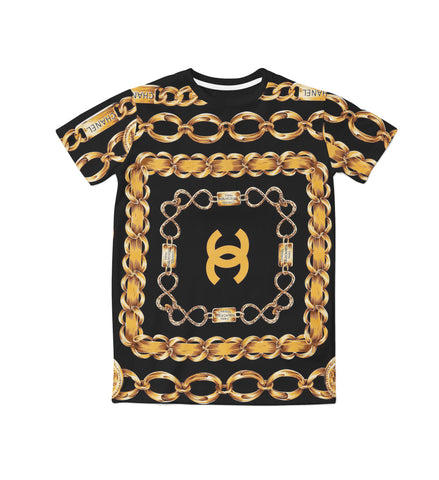 Gold Designer Chains Tee Unisex Tops - Blue Flame Clothing