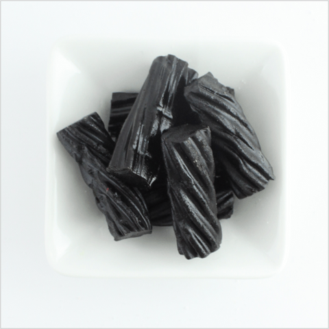 Soft and chewy piece of classic black licorice
