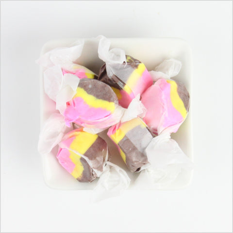 Enjoy strawberry, chocolate and banana in this Banana Split Saltwater Taffy,