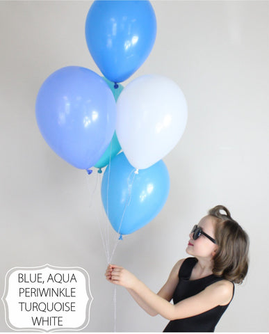 Blue, Aqua, Perimwinkle, Turquoise, White balloon mix