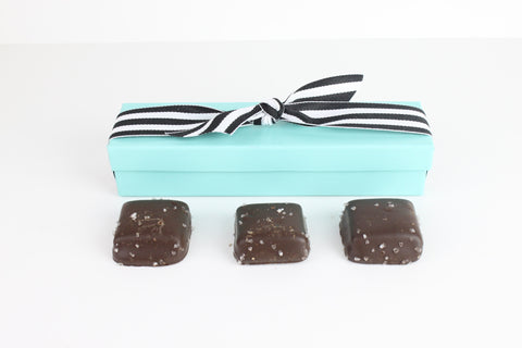 3 Piece Sea Salt Caramel in Blue Box - CoCa LeNa Candy Shop Port Washington