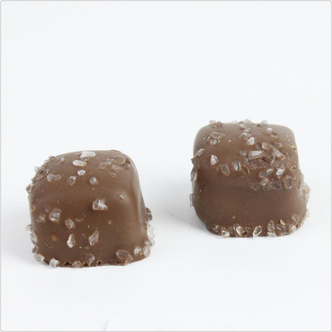 caramels covered in milk chocolate and rolled in sea salt that are sugar Free