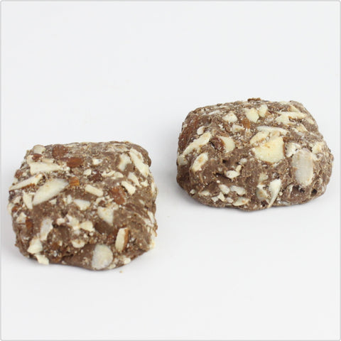 English toffee squares dipped in milk chocolate and topped with butter almonds that are sugar free