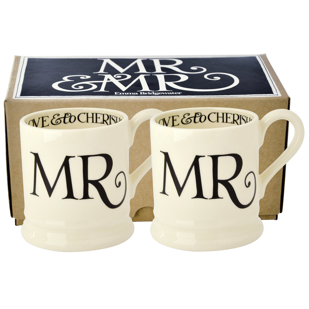 Emma Bridgewater Black Toast Mr and Mr x 2 x 1/2 pint Mugs Boxed