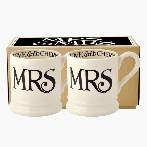 Emma Bridgewater Black Toast Mrs and Mrs x 2 x 1/2 pint Mugs Boxed