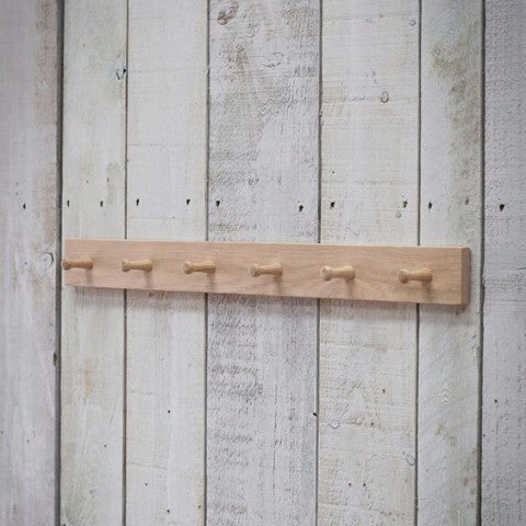 Raw Oak 6 Hook Rail