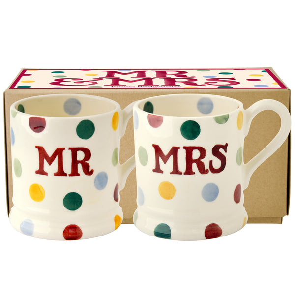 Emma Bridgewater Polka Dot Set of Mr and Mrs 1/2 pint Mugs Boxed