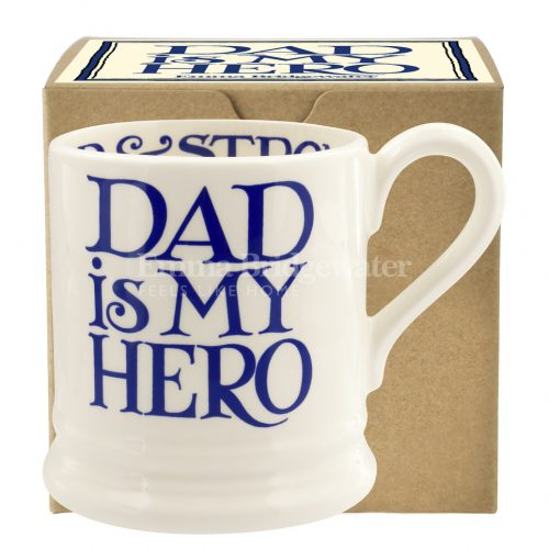 Emma Bridgewater Gift Boxed 1/2 pint Toast Dad is My Hero Mug. Available in Blue or Black