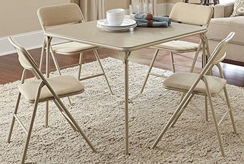 Cosco Products 5 Piece Folding Table and Chair Set Tan Wheat